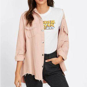 NWT - pink denim snap down jacket